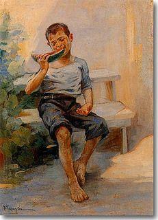 Γεραλής Λουκάς Παιδί που τρώει καρπούζι.1950-