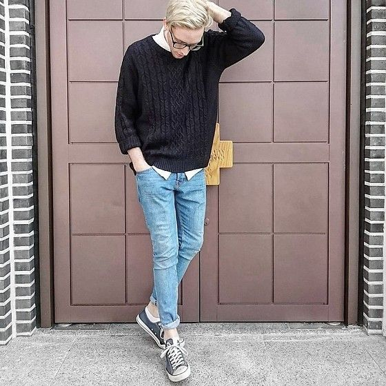 Get this look: http://lb.nu/look/8158463  More looks by j a m e s - c h r i s t o p h e r: http://lb.nu/jameschristopher  Items in this look:  River Island Sweater, H&M Blue Jeans, Navy Converse
