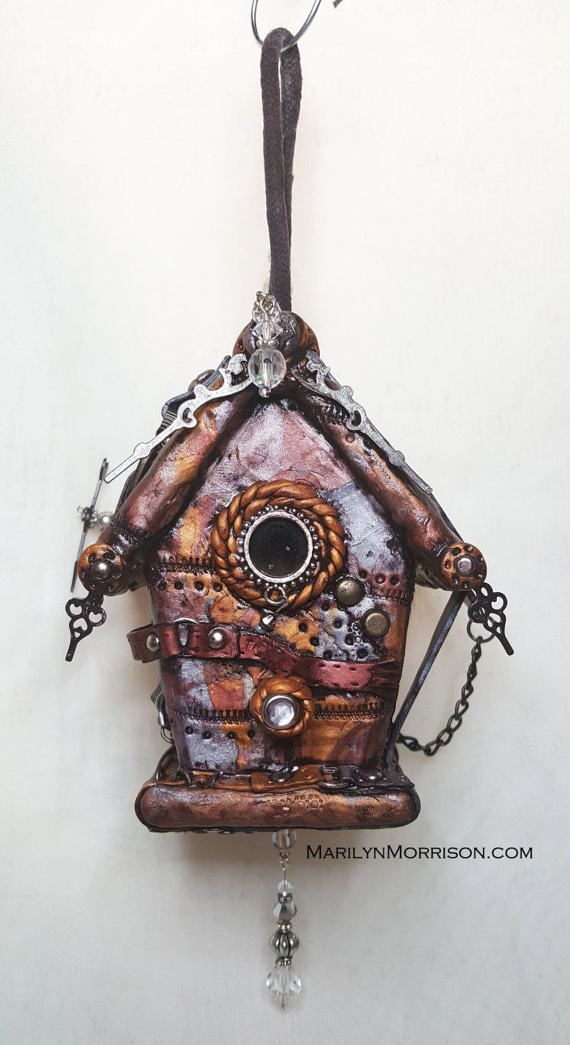 Steampunk Polymer Clay Hanging Birdhouse