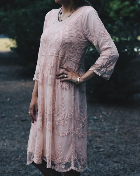 Sheer lace dress with FULLY LINED 3/4 length sleeves. Fits true to size. Made in USA 70% cotton, 30% nylon Handwash