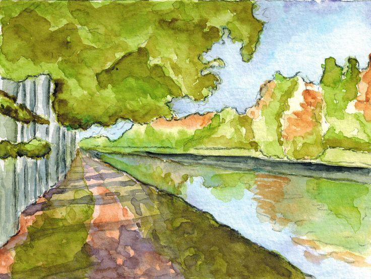 Chemin de halage, aquarelle, Annie Collette