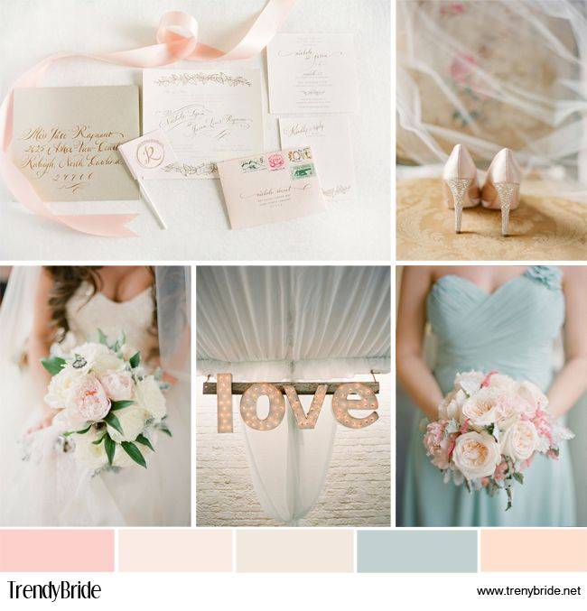 Light pink and baby blue #wedding inspiration board http://trendybride.net/baby-blue-and-soft-hues-wedding-inspiration-board/ Photo by: KT Merry