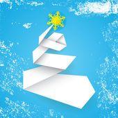 Stylizované jednoduché vektorové vánoční stromeček z papíru proužek modré pozadí s sníh grunge — Stocková ilustrace #93244546