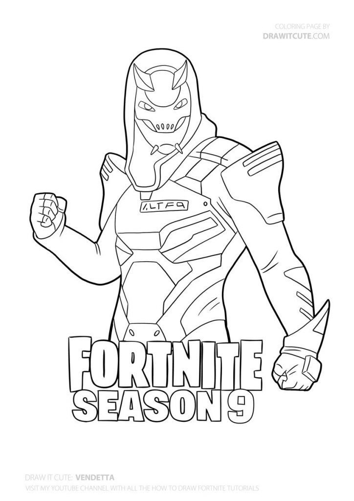 Fortnite Season 9 Coloring Page In 2020 Coloring Pages Cute Coloring Pages Drawings