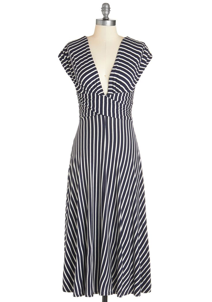 Sun-soaked Afternoon Dress. The sun reflects off the rolling waves as you make your way to the boardwalk in this striped midi dress! #blue #modcloth