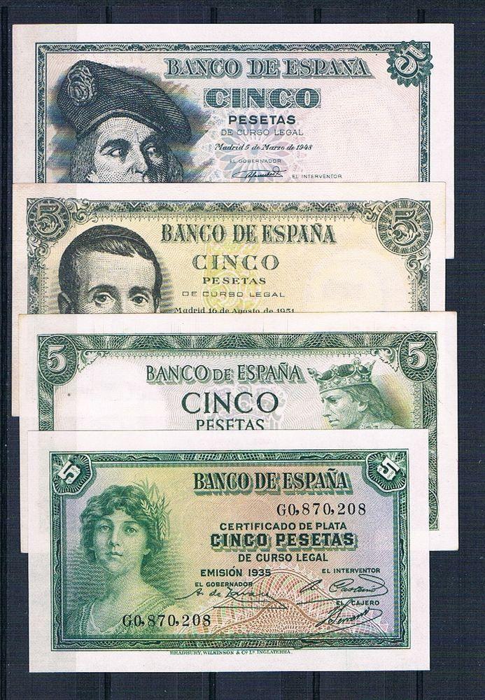 LOT 4 PCS BANKNOTE SPAIN  DIFERENT  5 PESETAS  1935/1948/1951/1954 UNC http://spain-travel-now.info/sn/re/?query=171977382258…