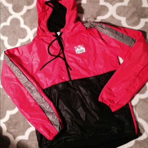NWT VS PINK ANORAK JACKET Brand new with tags  pull over quarter zip hooded jacket. Wind breaker like material .. Is actually pretty warm ! PINK Victoria's Secret Jackets & Coats