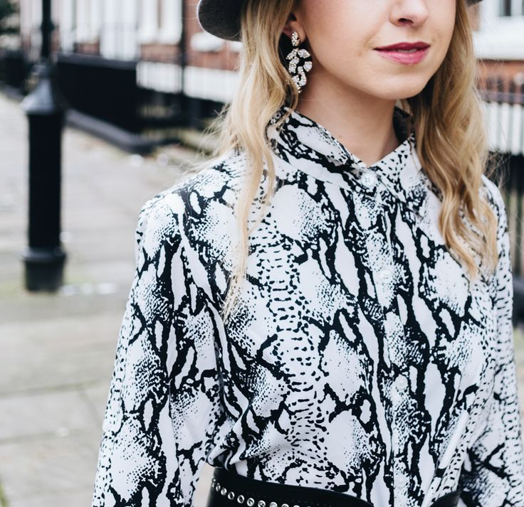 Jewelled snake earrings styled with a snake print dress - how to style a snake print dress four ways - https://theemasphere.com/how-to-style-a-snake-print-dress/