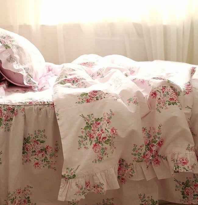 Pink Roses Print Bedding Set,Elegant Ruffles Floral ...