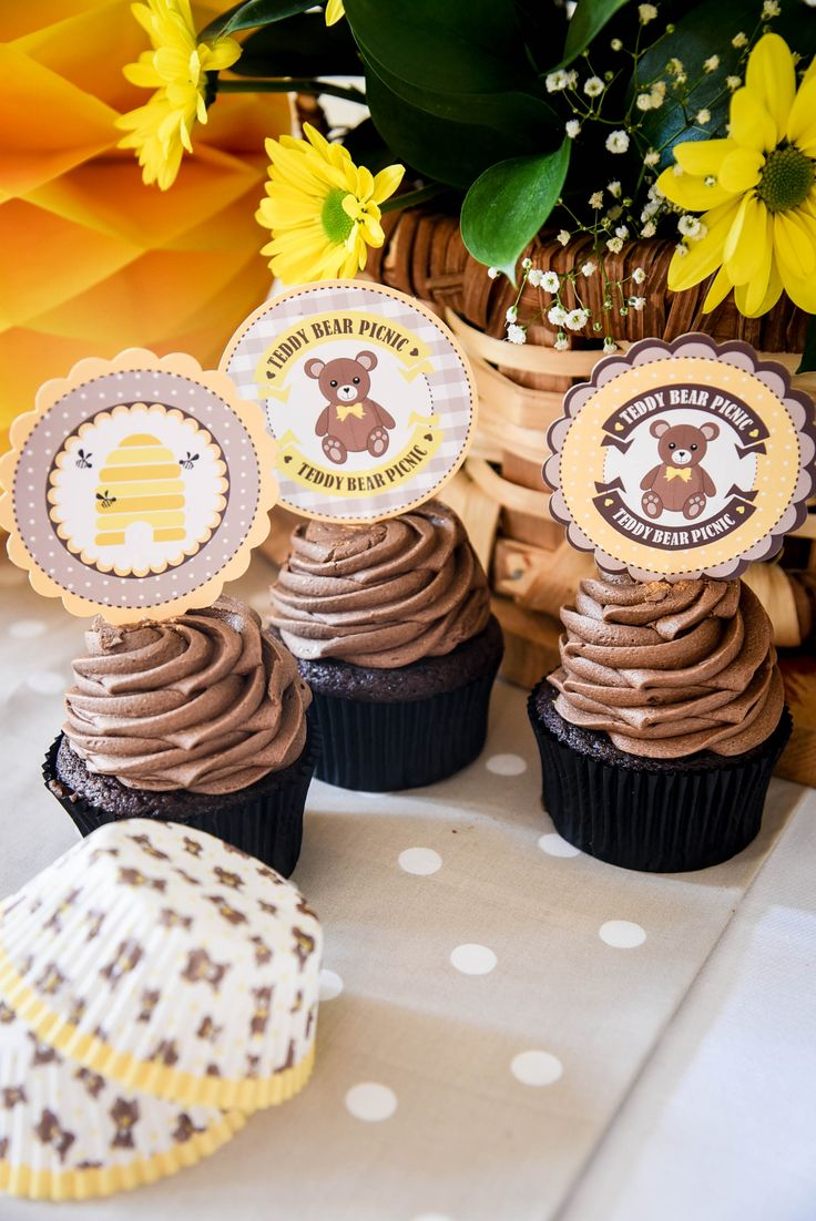 Teddy Bear Picnic cupcake toppers and wrappers by Hunters Rose