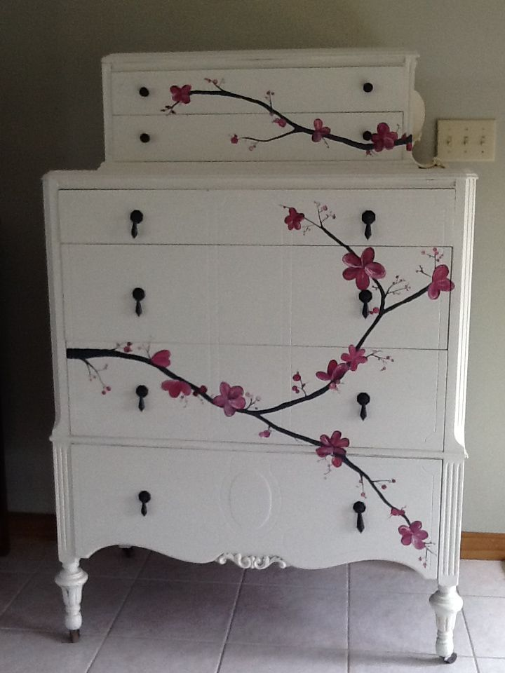 Hand painted Cherry Blossom 1920's dresser. Done in Cece Caldwells paint by salvagechic.weebly.com.