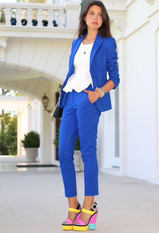 Voguish Work Clothes for Office Ladies  Love the colors, but I'd break my ankles in those shoes!