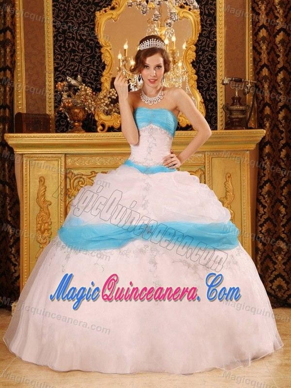 White and Blue Appliqued Sweet Sixteen Dresses for Winter