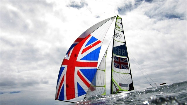 Stevie Morrison and Ben Rhodes of Great Britain compete in the men's 49er Sailing on Day 3 of the London 2012 Olympic Games at the Weymouth and Portland venue.