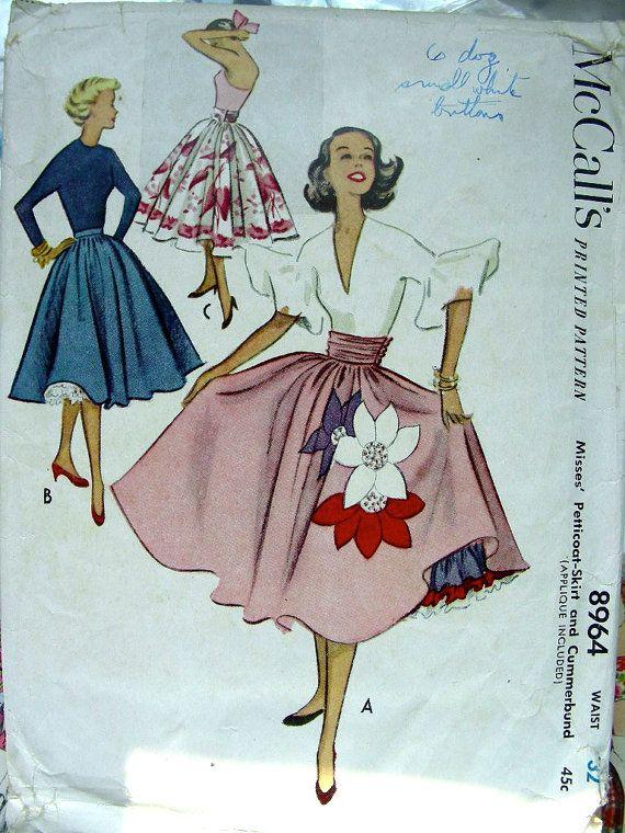 Vintage 1950s Cocktail or Evening Petticoat, Skirt & Cummerbund Sewing Pattern…