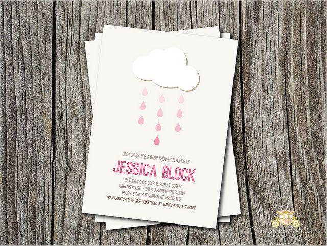 Pink Rain Showers - Printable Sip N See or Baby shower Invitation by blush printables, via Flickr