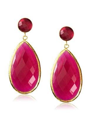 Coralia Leets Large Cranberry Quartz Earrings