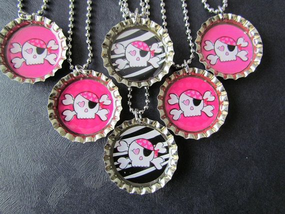 Pink Pirate Bottle Cap Party favors 6 / add more by PPPartyFavors, $12.00