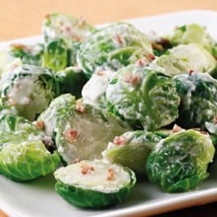 Brussels Sprouts with Bacon-Horseradish Cream Recipe. Big fan of Brussels sprouts and this looks amazing!!