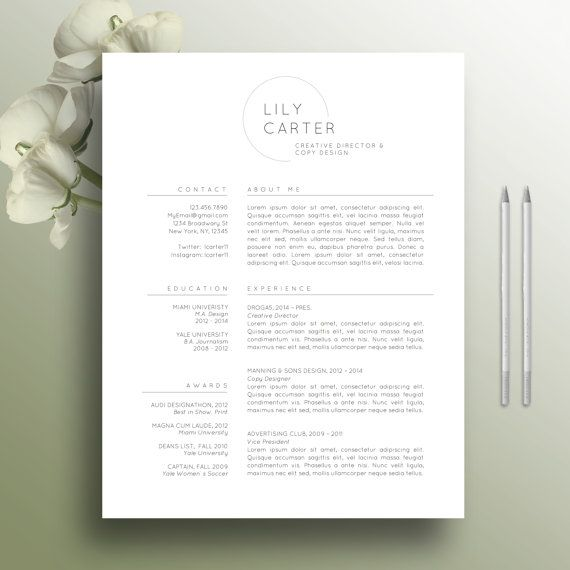 Resume Template, 2 Page Resume, CV Template + Cover Letter for MS Word, Professional Resume, Simple Design, Instant Digital Download, Lily