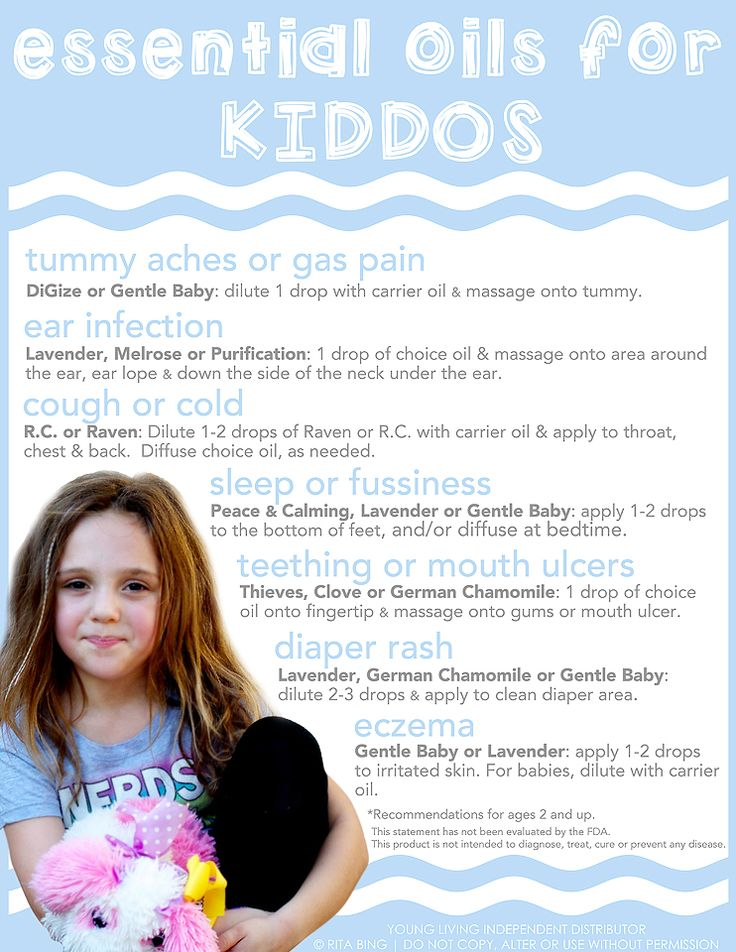 Essential Oils for Children (Kiddos) Cheat Sheet to show the ways to use essential oils on children.