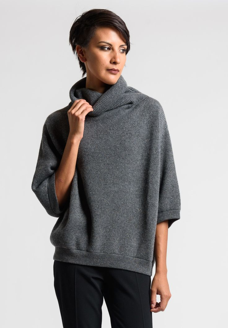 Brunello+Cucinelli+Ribbed+Turtleneck+Sweater+in+Grey