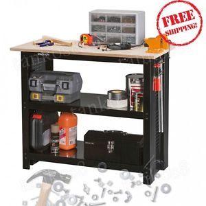 Steel-Workbench-Large-Tools-Shelves-Storage-Garage-Shop-Home-Unit-Upper-MDF