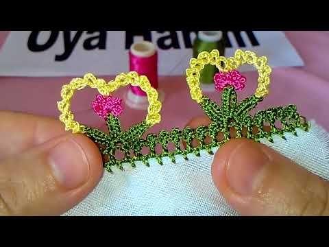 Çiçekli tığ oyası yapılışı - YouTube