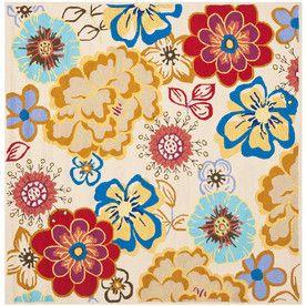Safavieh Four Seasons Square Cream Floral Indoor/Outdoor Woven Area Rug  (Common: