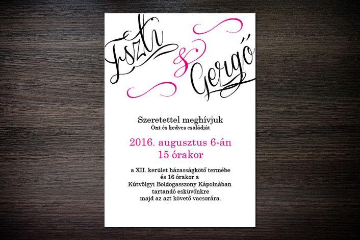 Classic Wedding Invitation, Wedding Invitation, Calligraphic Wedding Invitation, Magenta Wedding invitation, Pink Wedding Invitation