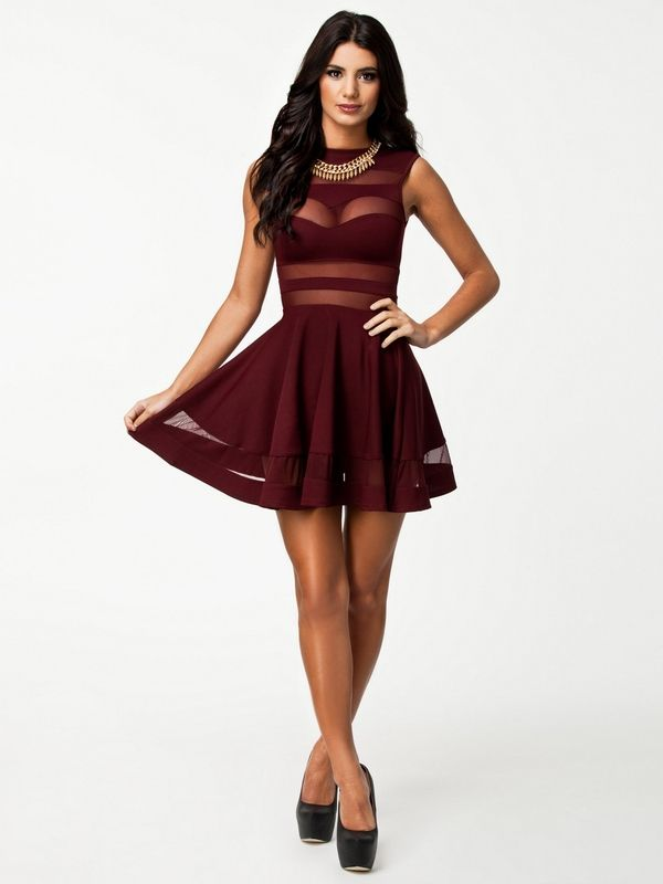 2014Newly Style Free Shipping Elegant Burgundy Red Mesh Insert Skater Dress Sexy Peplum Dress New Fashion Sheer Party Prom Dress US $17.86 BIRTHDAY Fit? 18th..