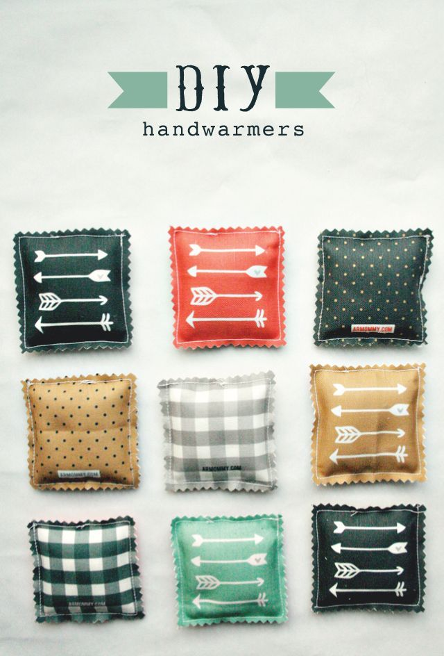 diy handwarmers: 1.   cut 2-3/4 inch squares from your choice of fabric.   two per hand warmer. must be 100% cotton  2. place two squares of fabric wrong sides together and stitch a 1/4 inch seam around the outside,   3. fill 3/4 of the way up with rice.  4.   sew closed.  5.  using pinking shears, trim the edges….  it will keep them from fraying.  to use, warm up int he microwave for 20 seconds  Can add rice, or corn or buckwheat shells and/or lavender or rosemary