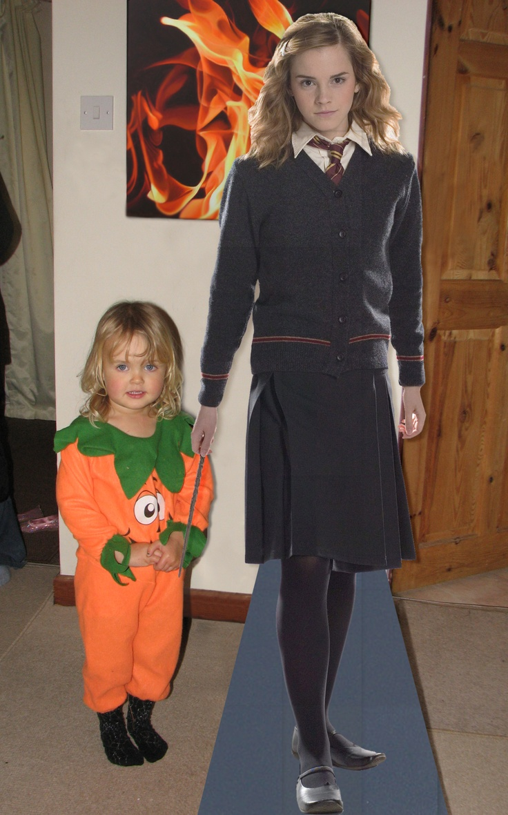 """Made a cardboard cutout  """"My daughter's birthday was SUCH fantastic fun, we made all the Hogwarts wizards (except from Slytherin of course!) and you really helped us to make her day with a life sized cutout of her favourite wizard of all time, Hermione Granger.  Smilus Engorgio! – Amy UK"""": Mi Daughters, Favourit Wizards, My Daughters, Doors Step, Daughters Birthday, Hogwarts Wizards, Daughter Birthday, Photo"""