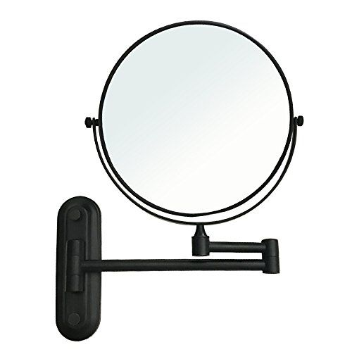 Gecious Wall Mount Vanity Mirror 1x 10x Magnification 360 Swivel 12 Extension Two Side Retractable Oil Rubbed Bronze Finish 8 Inch Wall Mounted Vanity Wall Mounted Magnifying Mirror Magnifying Mirror