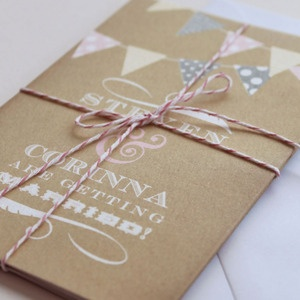 DIY Wedding invite inspirations:  Love the bunting and twine!