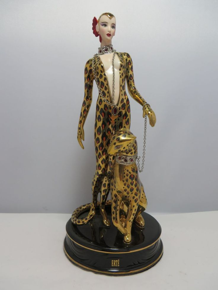 Erte Leopard Porcelain Figurine Franklin Mint | Art Deco ...