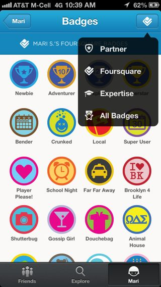 Foursquare iPhone popovers screenshot