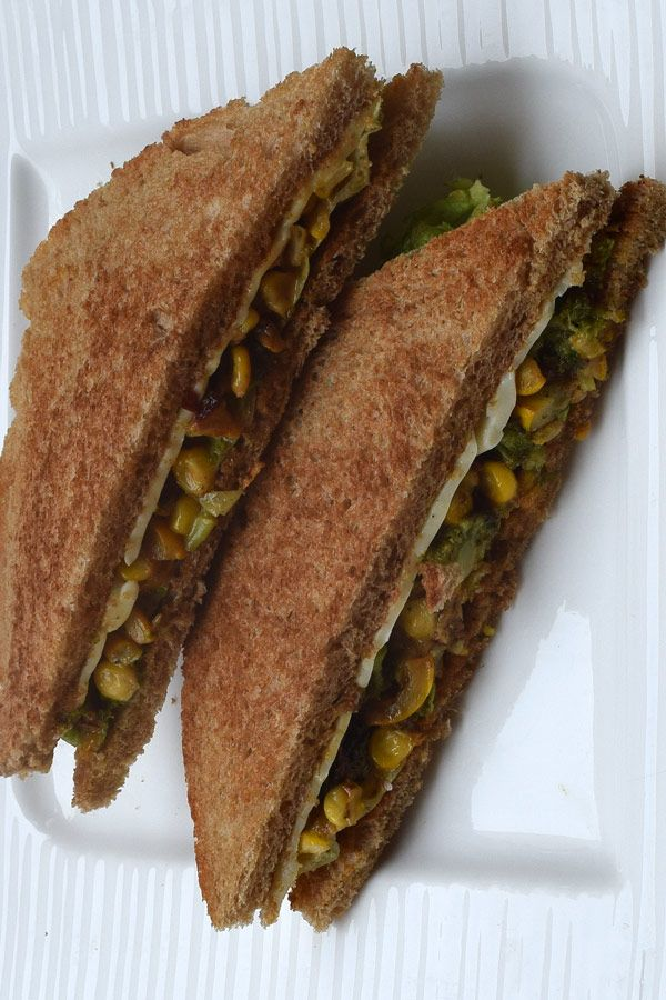 Broccoli, Zucchini and Corn Sandwich. Its a sandwich full of super healthy vegetables that are good for your overall health. Made with hearty Brown Breads these super yummy sandwiches are great in flavours.