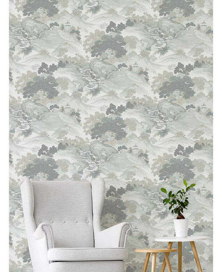 The Crown Archives Oriental Landscape Wallpaper in teal, grey and cream is a modern take on a classic wallpaper with subtle metallic highlights. Free UK delivery available