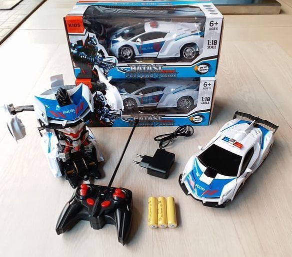Rc Ferrari Sport Police Car Model Transformer Robot Skala 1 18