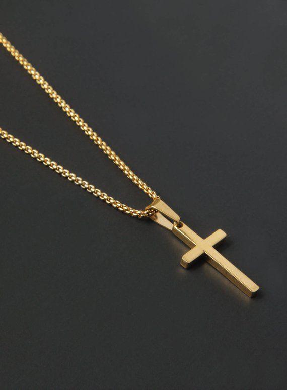 20265501b2c4b Cross Necklace for men - Men s gold cross necklace - Men s Jewelry - Gold  cross pendant necklace for