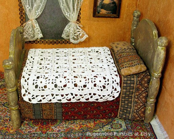 Miniature dollhouse crochet afghan with a retro Indian muslin bedspread and bolster by PugcentricPursuits