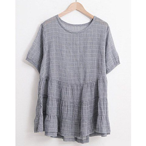 Casual Style Scoop Collar Short Sleeves Checked Loose-Fitting Women's Blouse