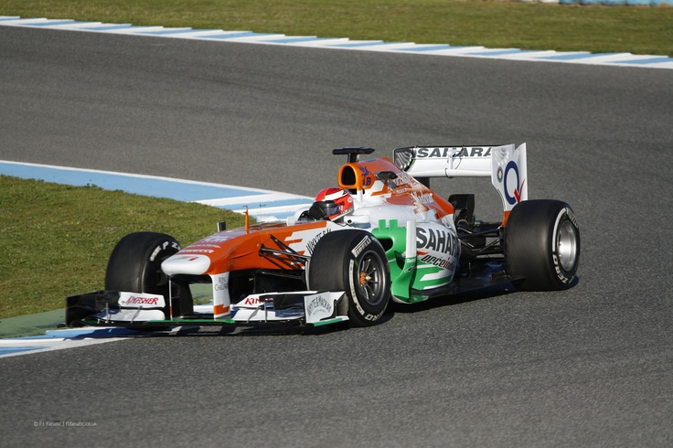 The Force India VJM06 on day 3 of testing in Jerez, Spain.