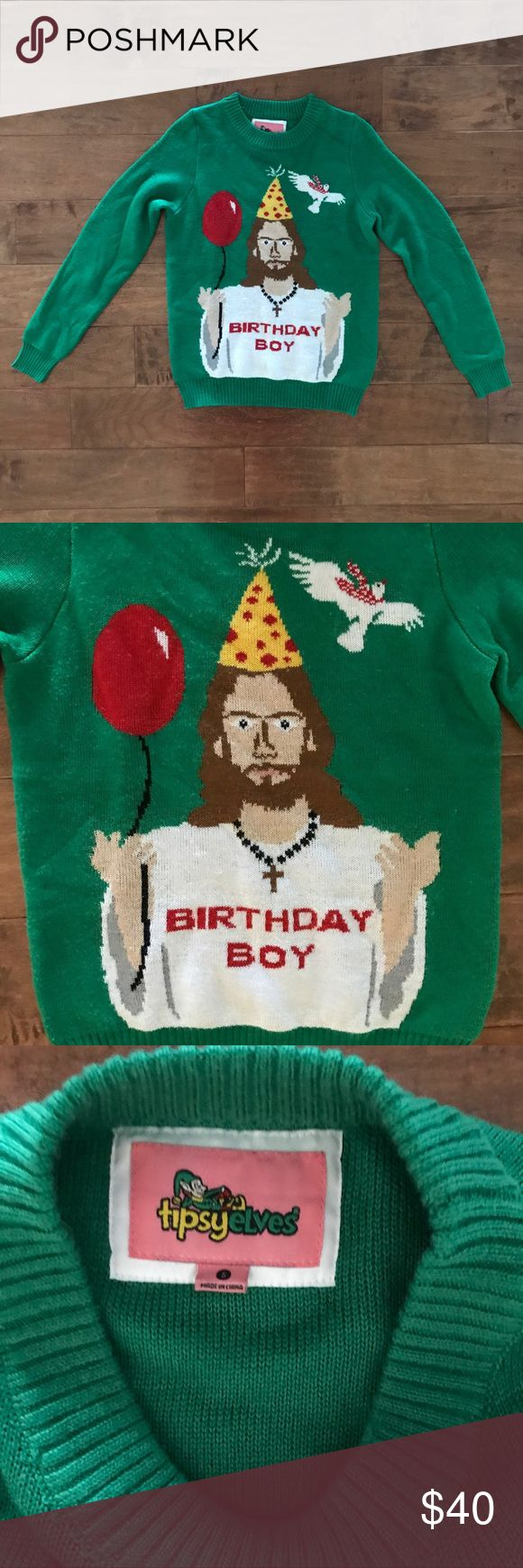 "Tipsy Elves Ugly Christmas Sweater Birthday Boy Excellent, preowned condition. Ladies size small. Green with Jesus and ""Birthday Boy"". Tipsy Elves Sweaters"