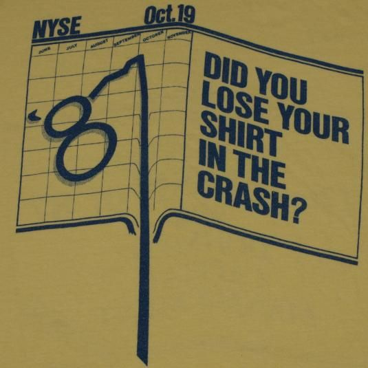 Vintage 1987 Stock Market Crash T-Shirt. Very good pre-owned condition.