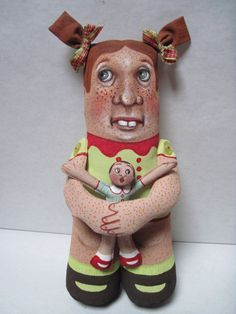 Ugly Ginger Painted Cloth Doll OOAK by donnadollart on Etsy