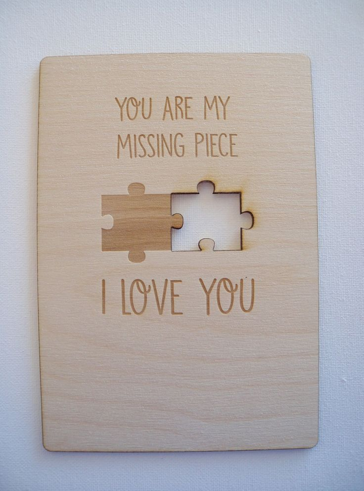 Personalized Valentine's Day Card-Birthday Card- Christmas Card- Anniversary Card-Laser Cut Wood Card-You are my missing piece by ImpactEngraving on Etsy