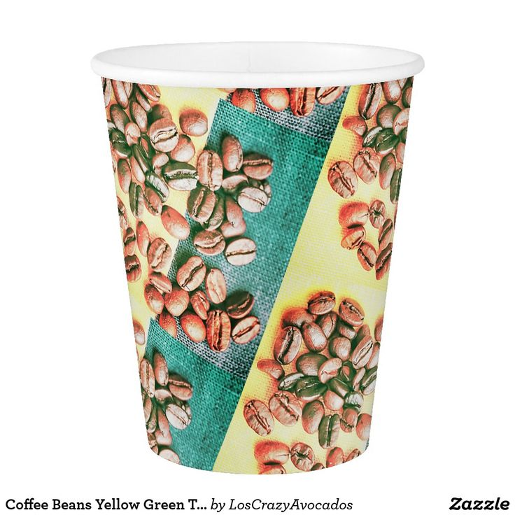 Coffee Beans Yellow Green Texture Paper Cup