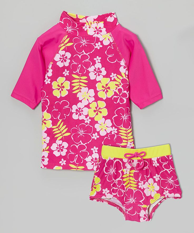 Look at this Pink & Yellow Blossom High-Waist Rashguard Set - Toddler & Girls on #zulily today!